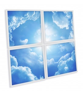 "Kit de 4 dalles LED 600x600mm - Impression ""Ciel bleu & soleil"""