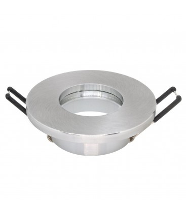 Support d'encastrement GU10 / MR16 Étanche IP65 - Rond - Aluminium brossé