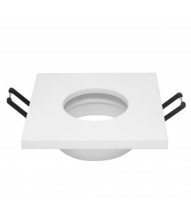 Support d'encastrement GU10 / MR16 Étanche IP65 - Carré - Blanc mat