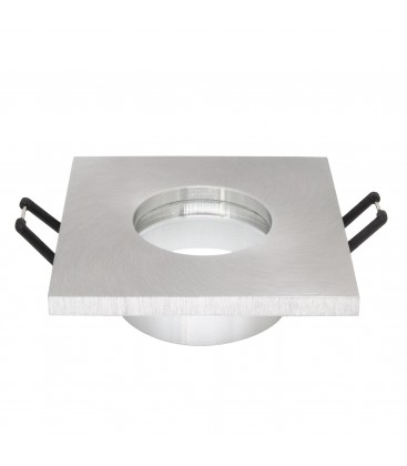 Support d'encastrement GU10 / MR16 Étanche IP65 - Carré - Aluminium brossé