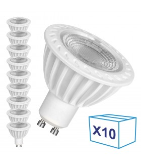 Pack de 10 Ampoules LED GU10 - 5W - Ecolife Ligthing® - Blanc Chaud