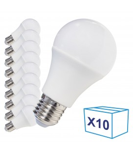 Pack de 10 Ampoules LED E27 - 8W - Ecolife Lighting® - Blanc Chaud
