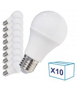 Pack de 10 Ampoules LED E27 - 8W - Ecolife Lighting® - Blanc Chaud