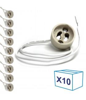 Pack de 10 douilles câblées GU10