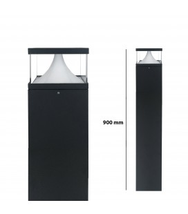 Pilier LED Extérieur Carré Transparent - 12 W - IP 65 - 900 mm - DeliTech®