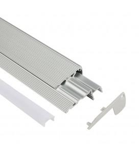 Profilé LED d'escalier / nez de marche - Série S60 - 1,5 mètre - Aluminium - Diffuseur opaque