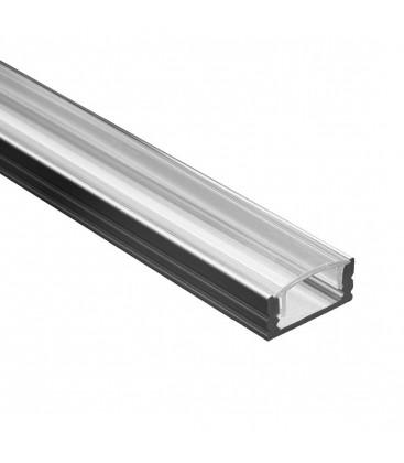 Profile Led - Serie U07 - 1,5 metres - Noir - Diffuseur transparent