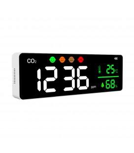 Détecteur et afficheur mural de CO2 (dioxyde de carbone) sur batterie - avec prise secteur fournie - DeliTech®