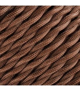 Fil électrique tressé - 2x0.75mm2 - Sur mesure - Marron