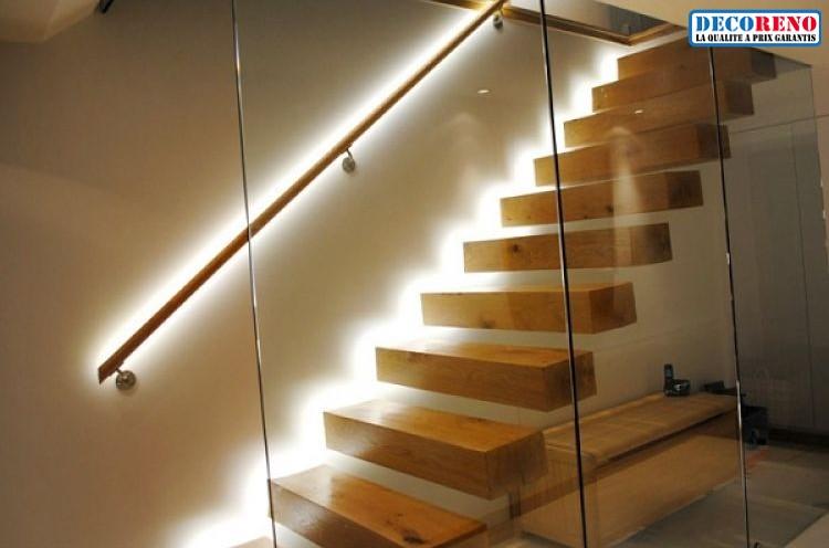 eclairage led escalier interieur Les possibilités du0027 agencement des rubans led sur un escalier sont  multiples que ce soit sur la longueur des marches ou sur les cotés.
